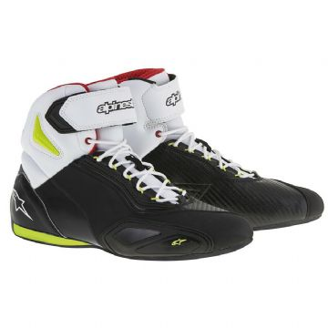 Alpinestars Faster 2 Motorcycle Motorbike Shoe Boots Black White Yellow & Red